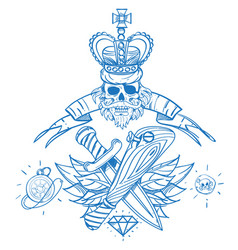Sketch of tattoo with a crown and a baseball bat vector