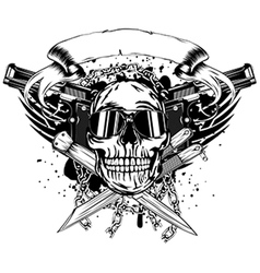 Skull two pistols and crossed knifes vector