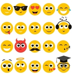 Smiley faces set vector