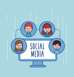 social media group people connection sharing vector image