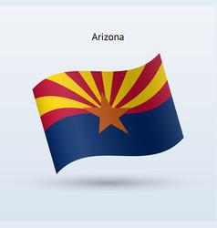 State arizona flag waving form vector