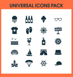 Sun icons set with spectacles sunny medusa and vector