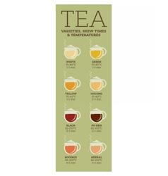 Tea varieties Brewing time and temperature vector