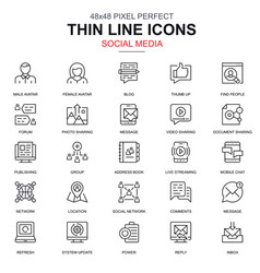 thin line marketing and social network icons set vector image