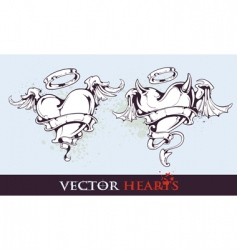Two tattoo styled hearts vector