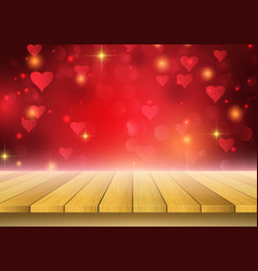 valentines day background with wooden table vector image
