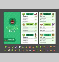 Vegetarian or vegan healthy food menu cafe vector