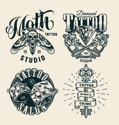 Vintage tattoo studio monochrome labels vector