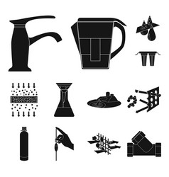 water filtration system black icons in set vector image