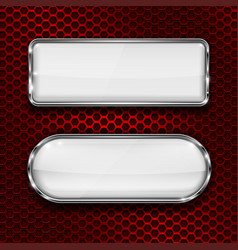 White glass 3d buttons on red metal perforated vector