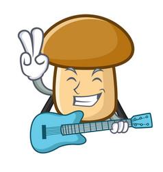 With guitar porcini mushroom mascot cartoon vector