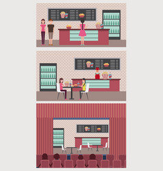 People cinema theater vector