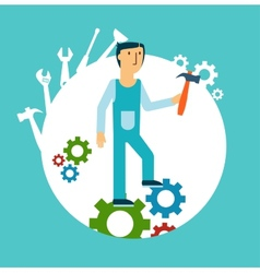 plumber holding a hammer vector image