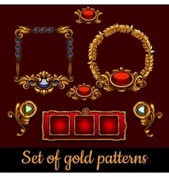 Bulk set of gold patterns and decorations vector image vector image