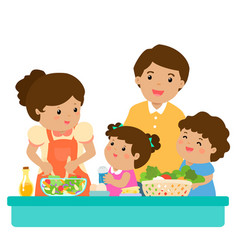 Happy family cook healthy food together cartoon vector