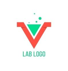 lab emblem like red v letter vector image