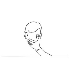 man covering his mouth with hand vector image