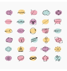 Set of simple hand drawn icons Business and start vector image
