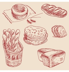 Bakery products hand drawn sketch different kinds vector image vector image