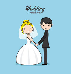 beautiful couple of newlyweds holding hands vector image vector image