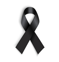 Black awareness ribbon on white background vector image