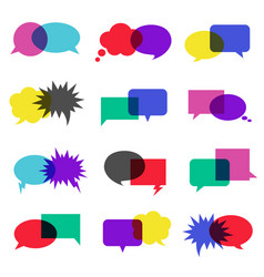 bubble speech icon set vector image vector image