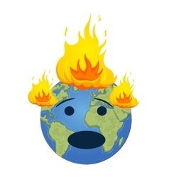Burning planet earth global warming concept vector