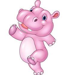 Cartoon baby hippo running isolated vector image vector image