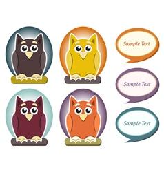 Cartoon owl with speech bubble vector image vector image