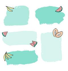 Colorful fruits brush stroke frames set vector