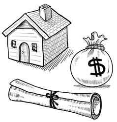 doodle mortgage loan rent house debt money vector image
