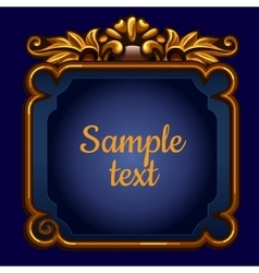 Golden surround frame on a blue background vector image vector image