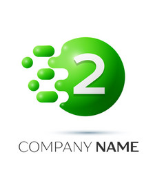 Number two splash logo green dots and bubbles vector