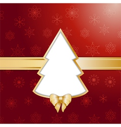 Red christmas tree background and border vector image vector image