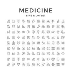 Set line icons of medicine vector