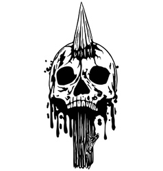 skull with stake vector image vector image