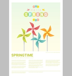 Hello spring background with colorful pinwheels 5 vector image vector image