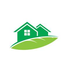 home leaf eco logo vector image