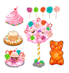lollipops cakes cake candies and other sweets vector image