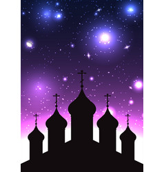 Silhouette of church in starry backgr vector