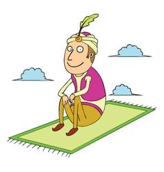sitting on flying carpet vector image
