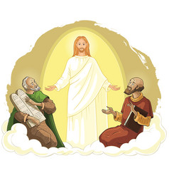 transfiguration jesus christ with elijah and moses vector image vector image