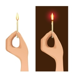 Two images with hand holding lighted candle vector image vector image