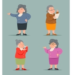 Vintage Art Adult Old Female Granny Character Icon vector image