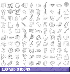 100 audio icons set outline style vector