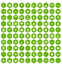 100 women health icons hexagon green vector