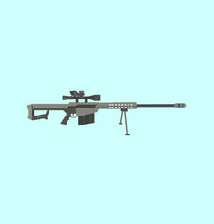 50cal caliber sniper rifle big gun with flat style vector