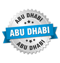 Abu dhabi round silver badge with blue ribbon vector