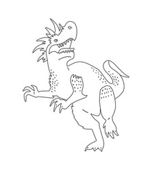 angry dinosaur with open jaw page for coloring vector image