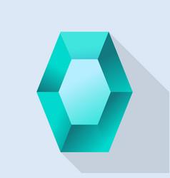 aquamarine shiny stone icon flat style vector image